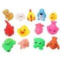1 Unidades/13 unids Juguetes Del Baño Del Bebé de Goma Suave Flotador Sqeeze Sonido Bebé Lave Juego de Baño Diversión Animales Encantadores juguetes para Bebés y Niños