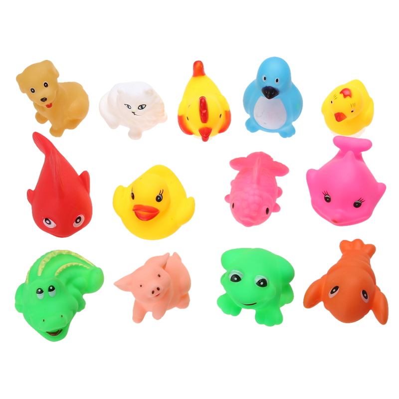 1Set/13pcs Baby Bath Toys Soft Rubber Float Sqeeze Sound Baby Wash Bath Playing Fun Lovely ...
