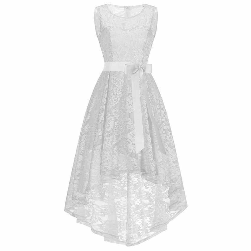 2019 Women New Year White Asymmetrical Lace Elegance Wedding Bridesmaid  Girl Dress For Christmas Princess Party d4538909c618