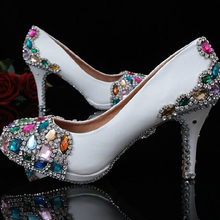 2016 New Arrival Handmade Wedding Shoes Popular White Bridal Shoes High Heel Dress Shoes Crystal Women's Shoes