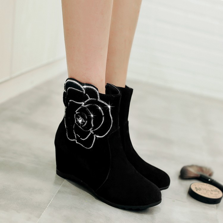 Big Size 9 10 11 12 boots women shoes ankle boots for women ladies boots Flower water drill side zipperBig Size 9 10 11 12 boots women shoes ankle boots for women ladies boots Flower water drill side zipper