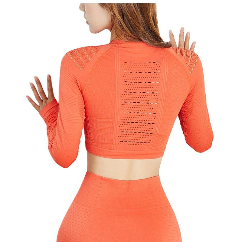 @1  Женская сплошной цвет Бесшовные ажурный с длинным рукавом Одежда для йоги Сексуальная красота Вернут ★