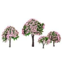Новые 4 шт. пластиковые модели деревьев поезд макет сад пейзаж белый и розовый цветок деревья Diorama миниатюрный розовый