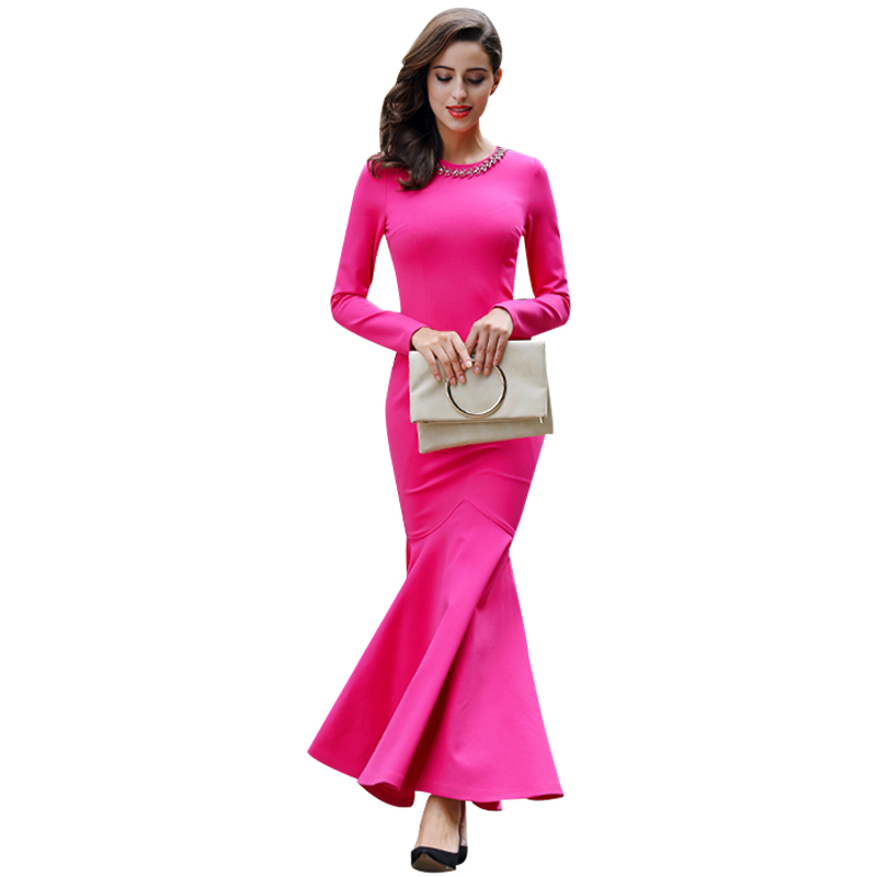 Vintage Solid Color Slim Mermaid Dress Necklace Collar Plus Size Women Clothing Long Sleeve Party Dresses Robe Lady Dress 5919