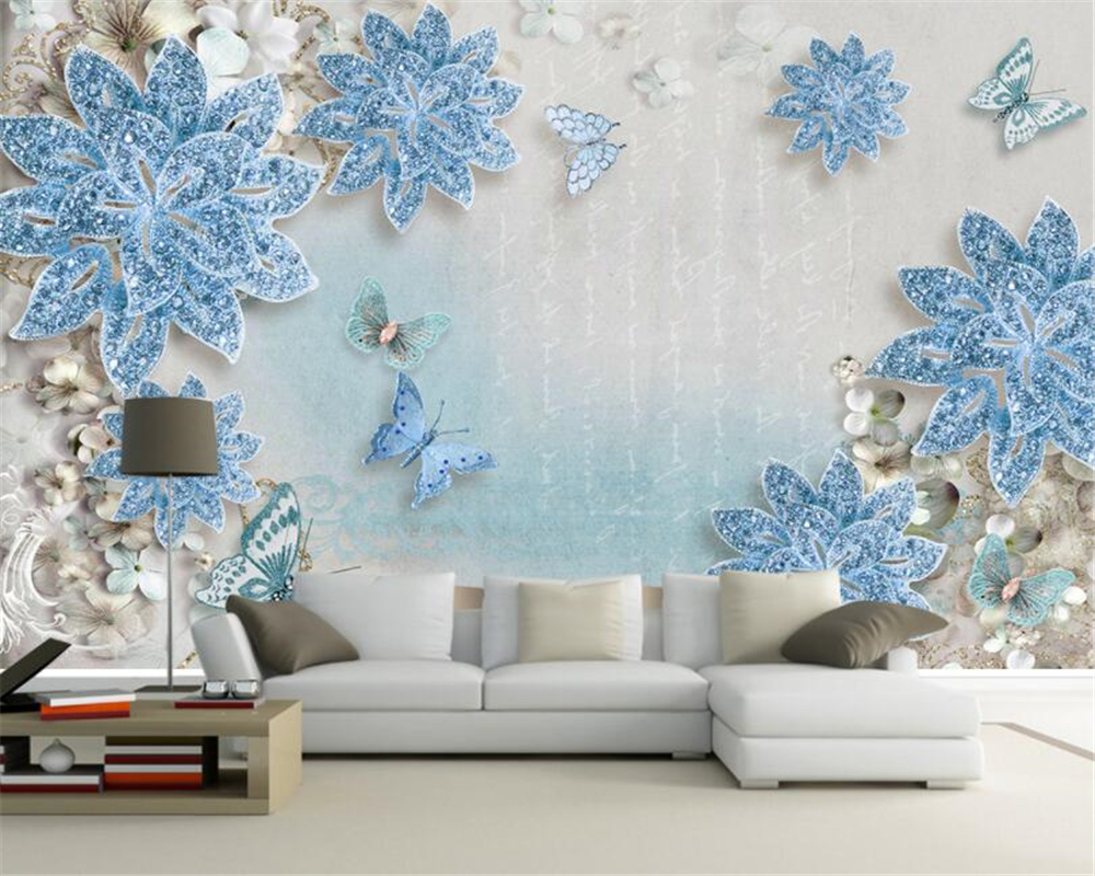 Beibehang Custom Photo Wall Mural 3d Wallpaper Luxury: Beibehang Custom Photo Wallpaper 3d Elegant Luxury Blue