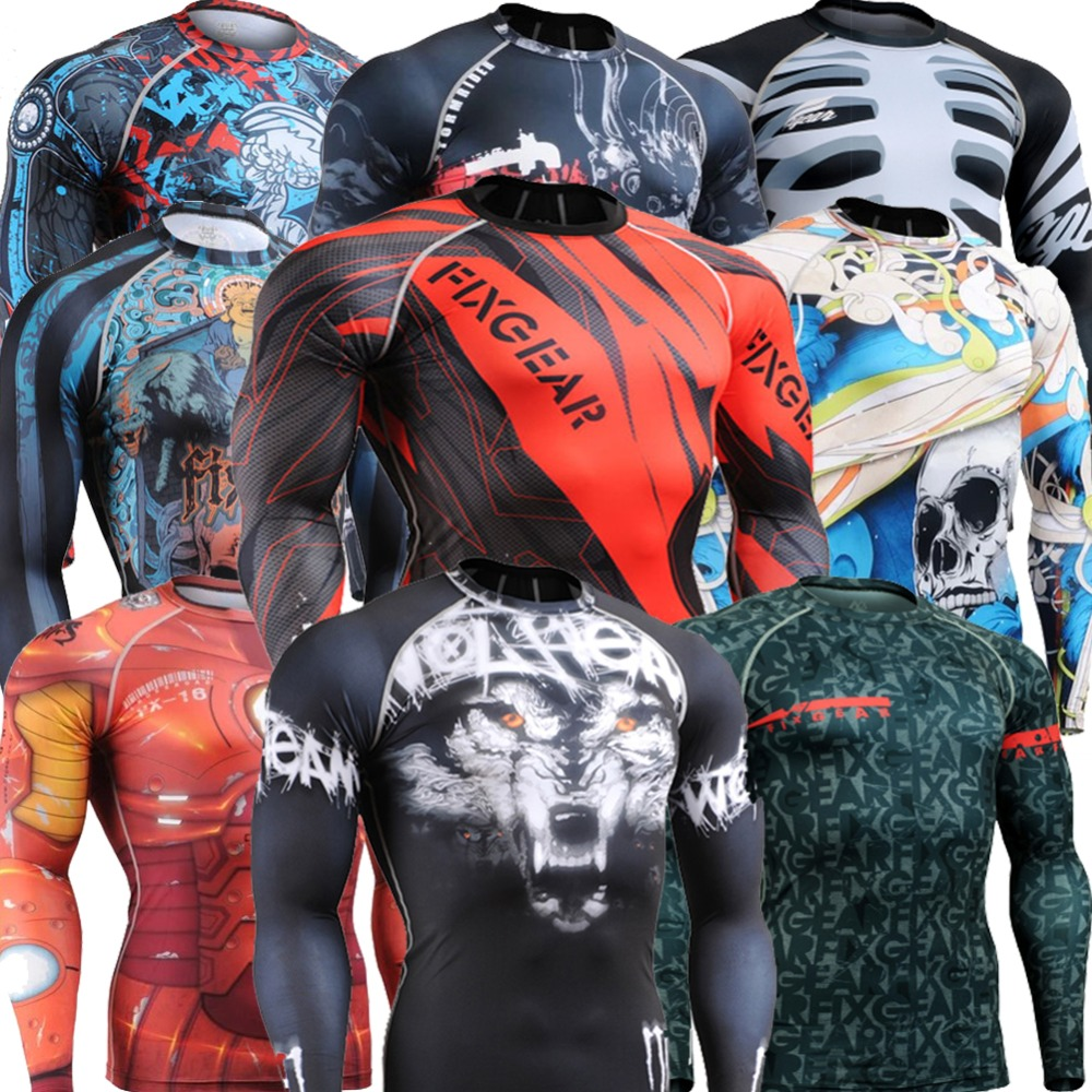 CROSSFIT Men's Fitness Clothing Long Sleeve Tee Compression Shirt Workout T-shirts Sports Gym Training Tops MMA Yoga exercise