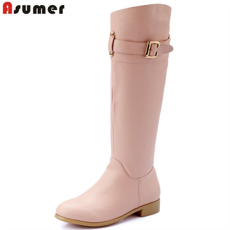 ФОТО 2016 sexy women winter boots round toe with buckle square heels genuine leather and pu hot sale elegant female knee high boots