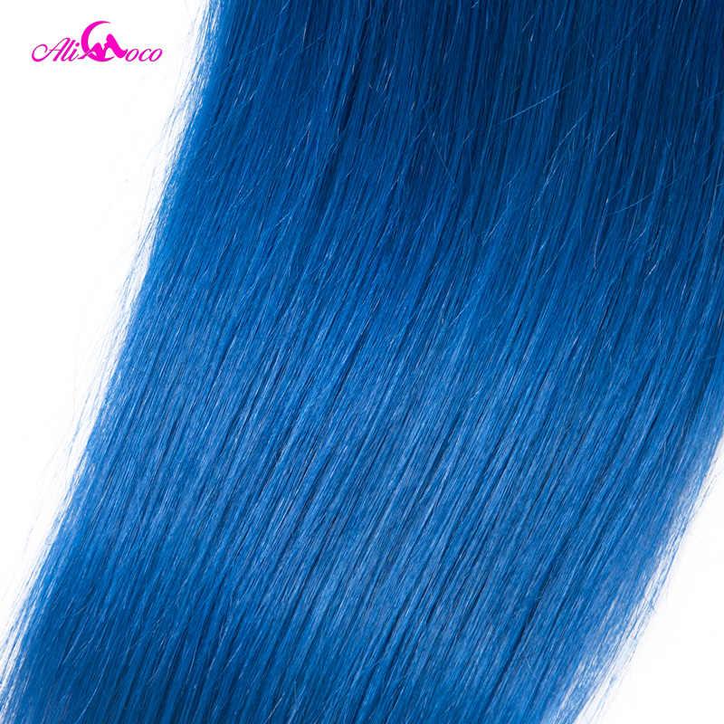 Али Коко бразильские прямые волосы 1/3/4bundles 1B/Голубой цвет 100% человеческих волос ткать 10-30 Inch Волосы remy Weave Связки