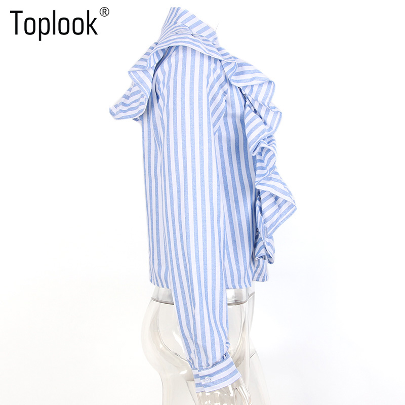 HTB1HCIWPVXXXXaGapXXq6xXFXXXM - Blue Frilled Blouse Striped Long Sleeve Shirt Women Casual