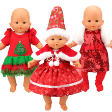 Fashion Cute 3 Items/Set Christmas Baby Born Clothes 43 cm Dress Outfit With Hat  For 18 inch Doll Baby Reborn Doll Clothes Gift