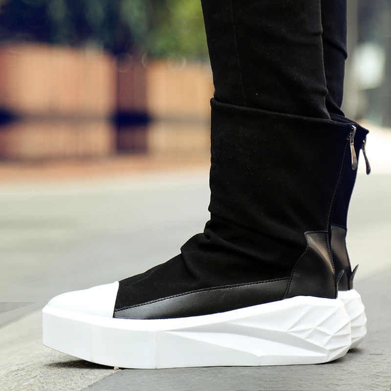 ed6b78214e24 ... Men 6 cm Height Increasing Platform Boots Back Zip Leather Shoes Male  Mixed Colors Y3 High