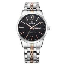 Hombres de Acero Inoxidable Relojes de Primeras Marcas de Lujo Nuodun Oro de Hombre de Moda de Cuarzo Reloj de pulsera Con Calendario Semana Relojes A Prueba de agua