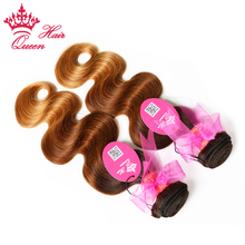 Queen Hair Products Ombre 3 Tone Color (#2/#6/#27) Brazilian Hair Body Wave 100% Remy Human Hair Bundles  Free Shipping