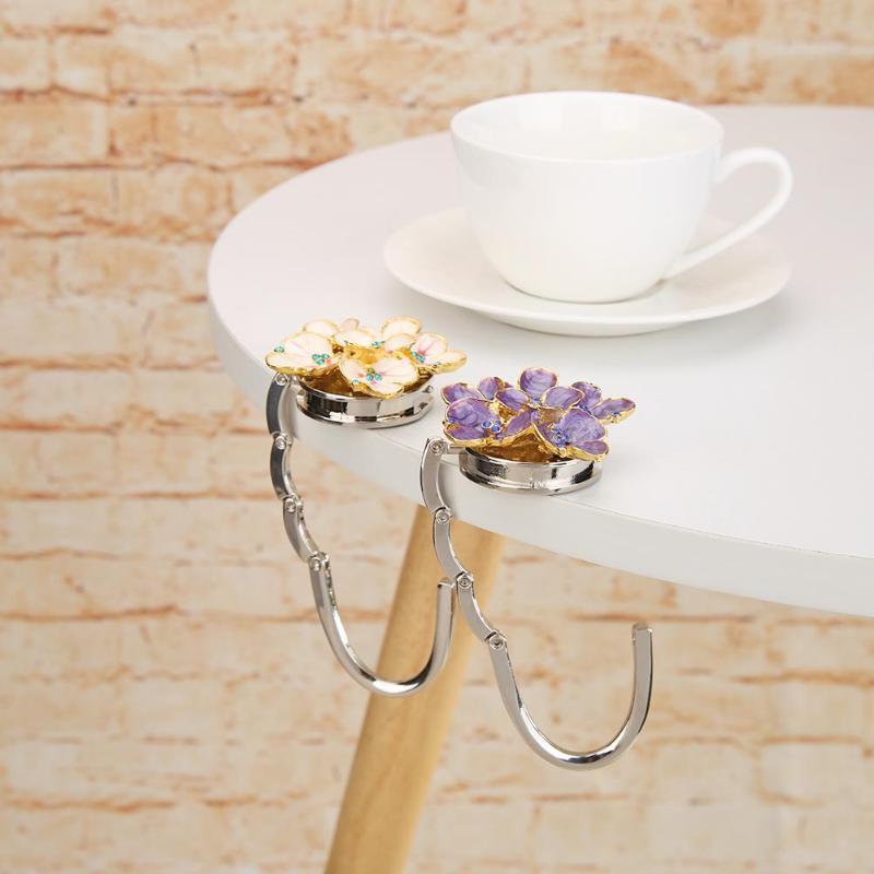 Flower Shape Metal Foldable Bag Hook Handbag Holder Purse Hanger Desk Hooks Multifunction Home Decoration Supplies