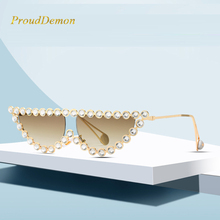 ProudDemon 2019 Women Luxury Fashion Cat Eye Diamond Sunglasses Ladies New Brand Designer Pearl Le Sun Glasses For