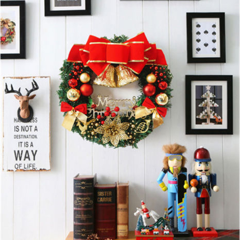 aliexpresscom buy 2017 merry christmas wreath bell ball bow pine needle xmas tree decoration for home door wall party new year gift ornaments s30 from