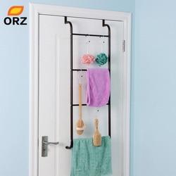 ORZ Multifunction Metal 4 Layer Trapezoidal Free Nail Hanging Over Door Towel Racks Overstriking Bathroom Storage Shelves