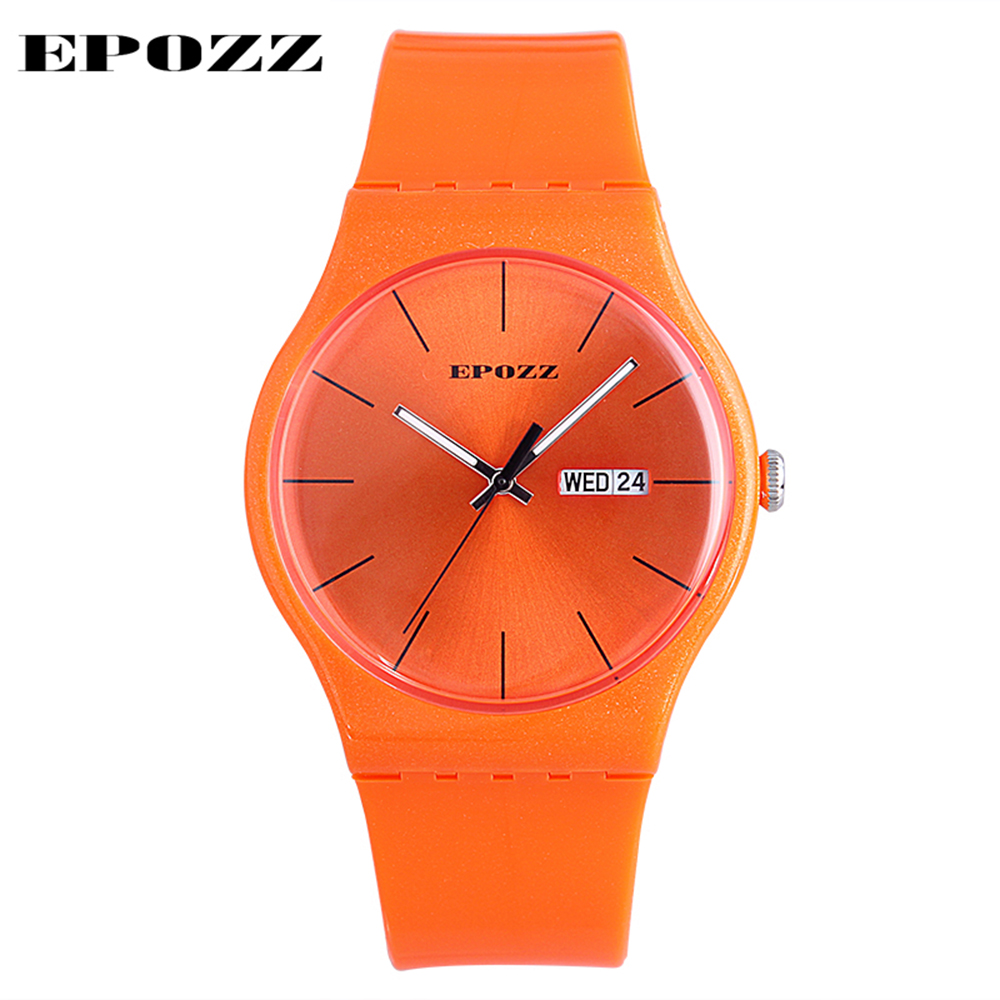 EPOZZ Top Brand Watch Full Orange Clock Silicone Soft Strap Hours Women Young Ladies Student Fashion Relogio Feminino