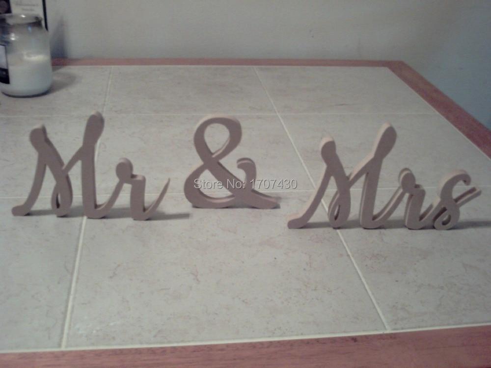 Новый свадебный подарок буквы белый дерево г-н и миссис знак топ украшение стола 10 см свадебные украшения буквы