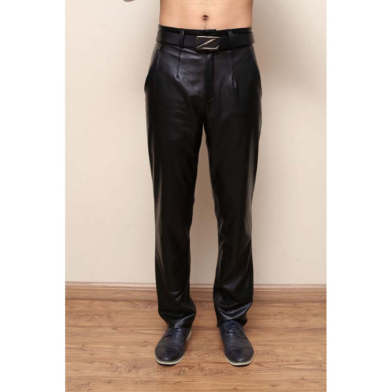 ANPOETCHY Men Leather Pants Male Winter Casual Trousers