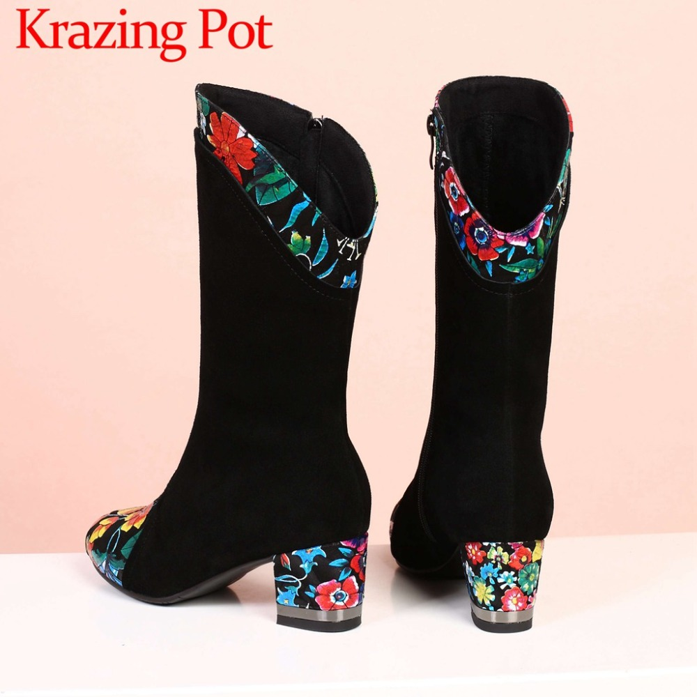 Fashion show handmade european style popular design big size cow suede colorful flowers heels western boots mid-calf boots L34Fashion show handmade european style popular design big size cow suede colorful flowers heels western boots mid-calf boots L34