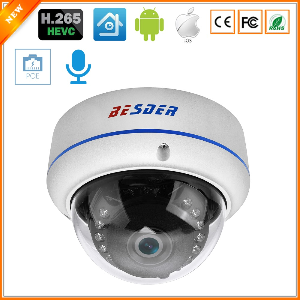 BESDER H.265 5MP 3MP Surveillance IP Camera Audio Internal Microphone Vandalproof  IR Night Dome Security Camera ONVIF PTP Alert-in Surveillance Cameras from Security & Protection