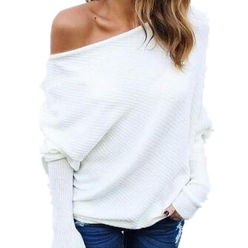 New Fashion Off One Shoulder Blouse Women Batwing Sleeve Autumn Slash Neck White Shirts Casual Knitted Pullover Women Tops