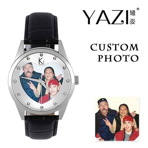 Relógio de Foto Exclusivo para Homem e Mulher Forma de Caixa de Aço Relógios de Pulso Yazi Marca Próprio Personalizado Relógio Coração-em Inoxidável Seu