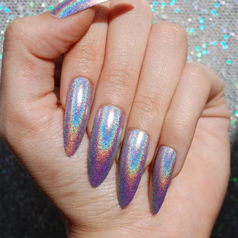 Unicorn Tipped Nail Art: 0.5g/Box Holographic Laser Nail Glitters Holo Rainbow