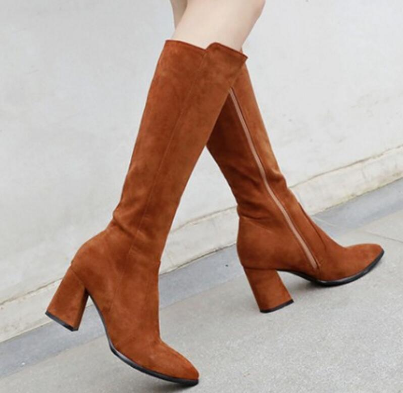 Xz181268 Suede Dames Mujer Femme Bottes Zapatos Genou Black Chaussure Hiver Gladiateur Haute Faux Chaussures Femmes Chunky Talons Hauts yellow Y6fb7gIyv