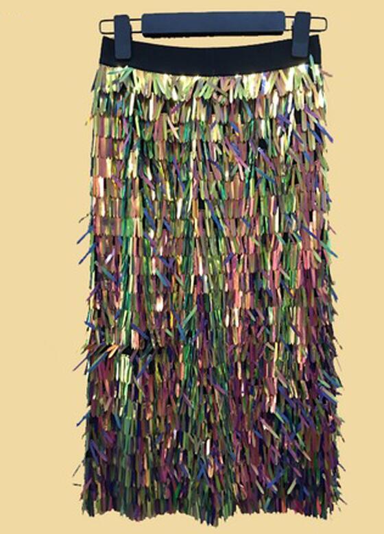 High Fashion Regenbogen Funkelnden Pailletten Rock Knielangen Midi Straße Stil Rock Personalisierte Röcke Frauen 2018 Heißer Modest Saia