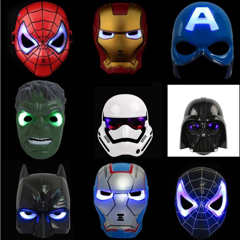LED Glödande Super Hero Mask Avengers Spiderman Captain America Iron Man Hulk Batman Party Cosplay Mask Leksaker för barn gåva