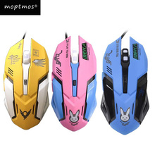OW D.VA Gaming Mouse-Backlit Optical Game Mice Ergonomic USB Wired with 2400 DPI 6 Buttons 4 Shooting for PC Computer Laptop
