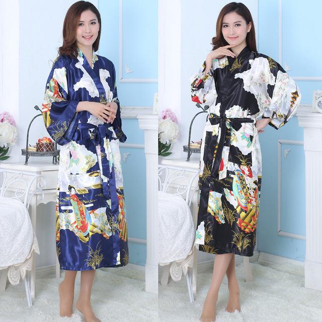 Chegada nova Mulheres Traje Tradicional Japonês Feminino Roupão De Seda Multicolor Pijamas Senhora Robe + Belt Pijamas Roupa 16