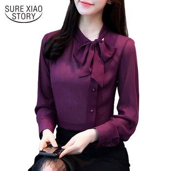 elegant fashion long-sleeved office lady blouse women shirt solid purple chiffon formal bow women tops