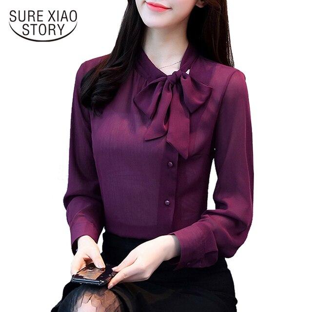 ce72d307d31 2018 new elegant fashion long-sleeved office lady blouse women shirt solid  purple chiffon formal