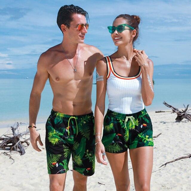 Par de pantalones cortos de playa de verano de hoja verde boxer para hombres mujeres playa traje de baño cortos amantes Tabla de secado rápido casual shorts de talla grande