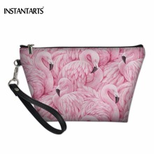 INSTANTARTS 2018 New fashion 3D Printed Women Brand Cosmetic Bags Flamingo and Flower Necessaries for Travelling Storage Makeup