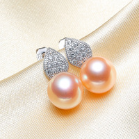 925 silver real natural big [bright pearl] fashionable new freshwater pearl earrings, ear studs, steamed bun, round natural mail