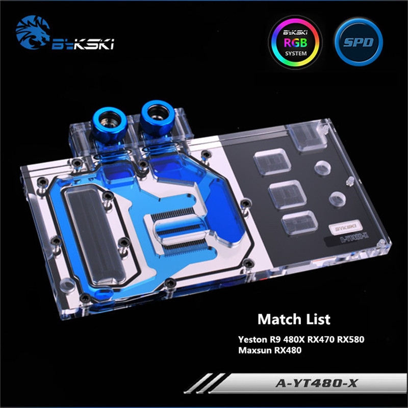 Bykski Full Coverage GPU Water Block For Yeston R9 480X RX470 RX580 Maxsun RX480 Graphics Card
