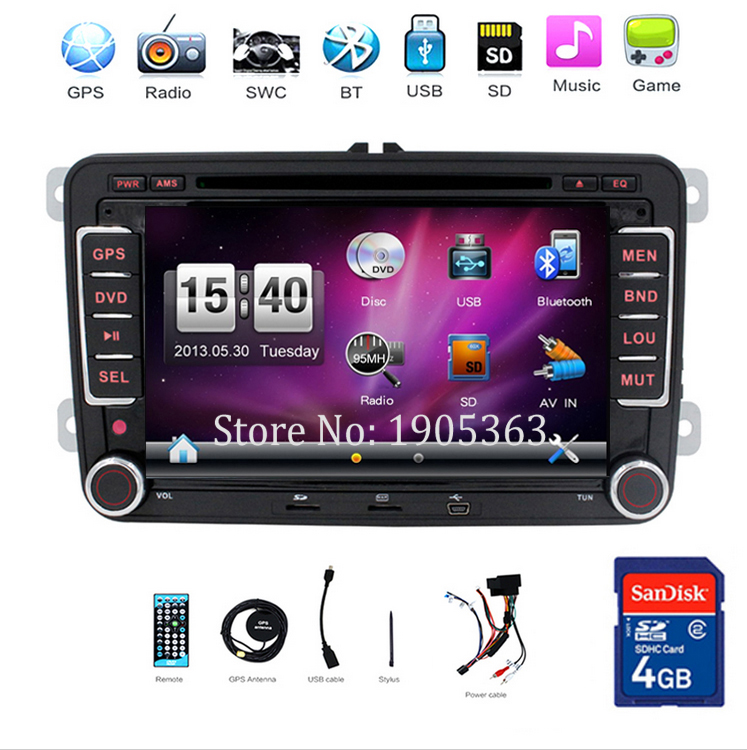 car dvd GPS Player For VW GOLF 5 Golf 6 POLO PASSAT CC JETTA TIGUAN TOURAN EOS,Bluetooth Radio 2 Din GPS Digital TV (optional)