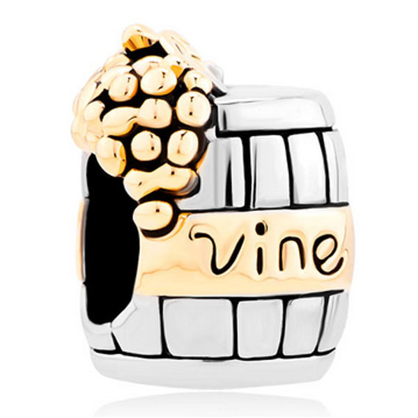 f7722e0c0 Silver With 14 K Vine Wine Cask Beads Charms Bracelets Suitable for Pandora  bracelets