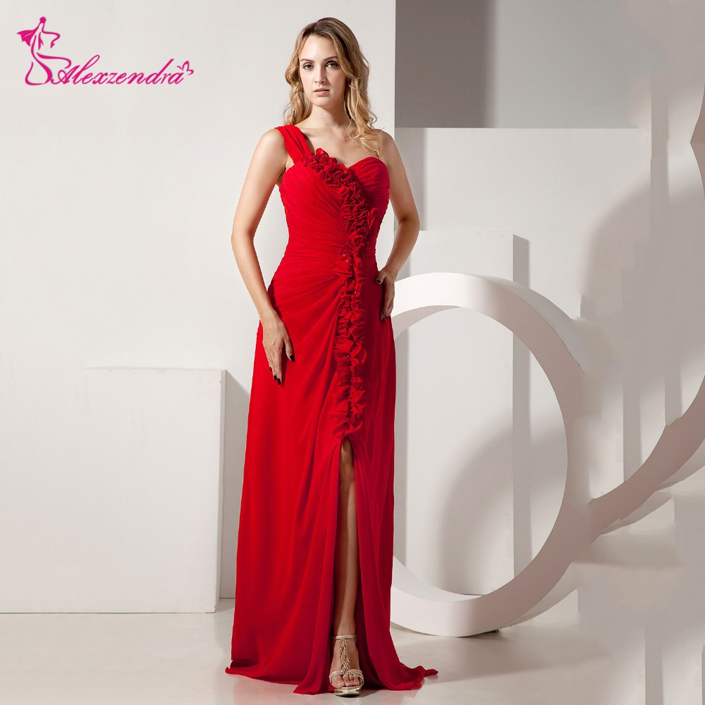 Alexzendra Red Chiffon One Shoulder Prom Dresses with Side Slit Sweetheart Flowers Long Party Dress Evening Dresses Plus Size