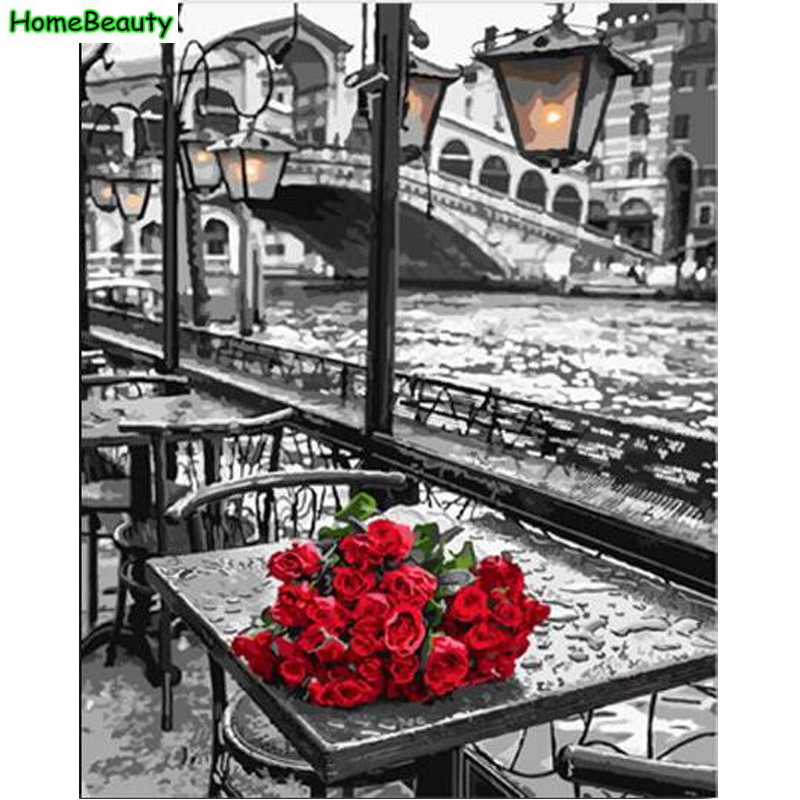 Home Beauty DIY Oil Painting By Numbers Wall Canvas Picture Coloring Paint By Number Brush Drawing