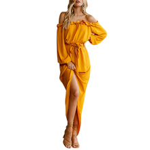Summer Maxi Dress Women Long Sleeve Slash Neck Sexy Party dress  Long Sleeve Dresses Casual Sundress Boho Solid Vestidos