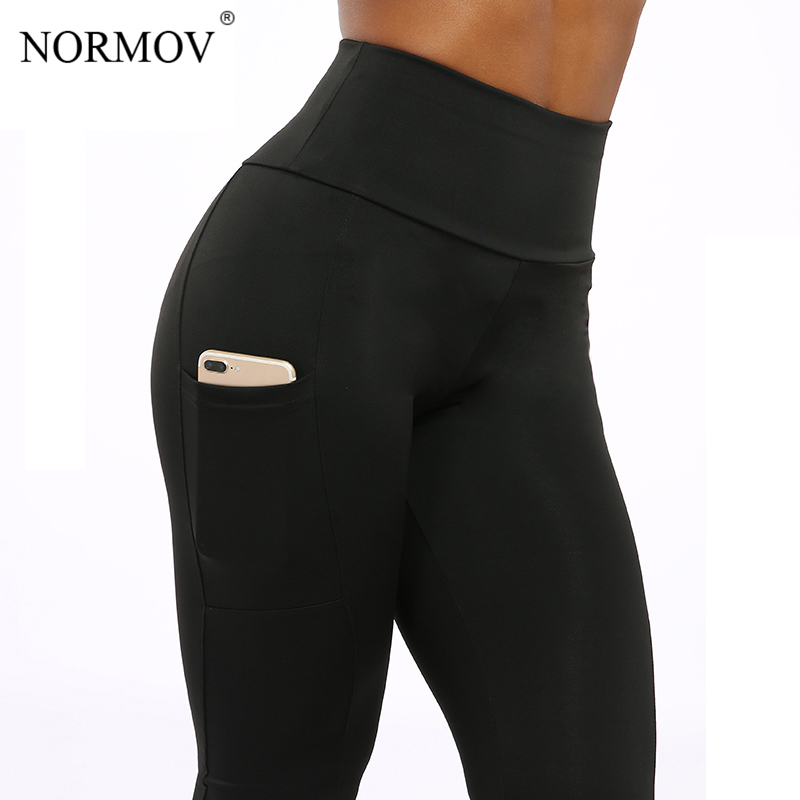 NORMOV Solid Fitness Clothing   Leggings   Women Pocket High Waist Pants Trousers Female Workout Patchwork Leggins Push Up 2 Color