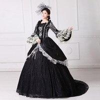 高級ブラックスワン女王ウェディングドレスヴィンテージ夜会服ロイヤル中世ルネサンスビクトリア朝のドレス美人ボー