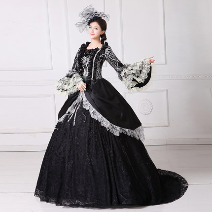 luxury Black Swan  queen gown vintage ball gown royal Medieval Renaissance Victorian dress Belle ball gown