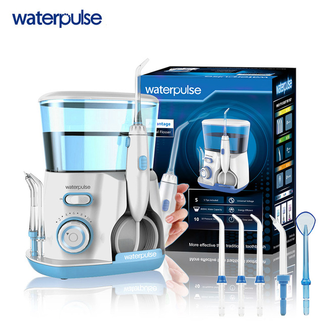 Dental Care Waterpulse Rechargeable Water Pick Teeth Cleaning Oral Irrigator V300 Dental Water Jet Flosser With 5pcs Jet Tips waterpulse 5pcs replacement oral irrigator jet tips teeth gum cleaner standard nozzle dental flosser replacement tip