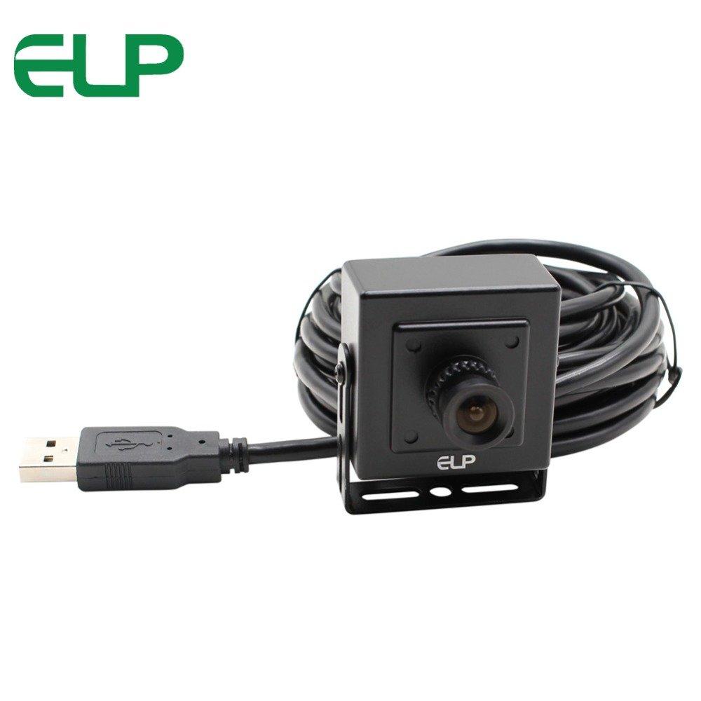ELP black aluminum case 480P VGA 30FPS cmos OV7725 mini usb camera otg with 6mm lens for Android,Linux,Windows,MAC OS